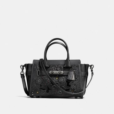 Web Exclusive! Coach Tea Rose Tooling Applique Refresh Web Exclusive! Coach Swagger 27 Satchel Black We Exclusive