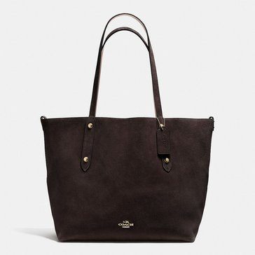 Web Exclusive! Coach Suede Large Market Tote Chestnut Stone
