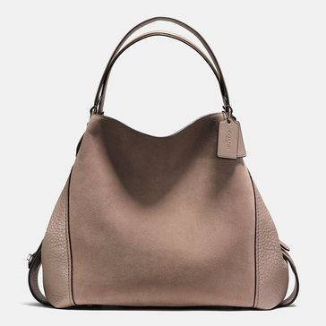 Coach Mixed Leather Edie 42 Stone Web Exclusive