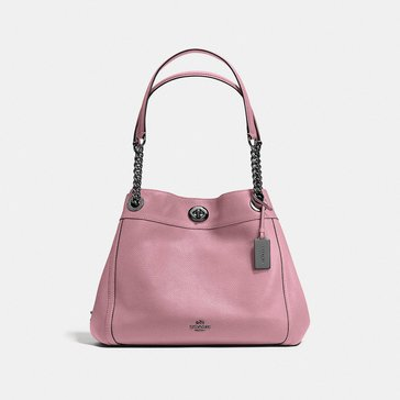 Coach Polished Pebble Turnlock Edie Dusty Rose