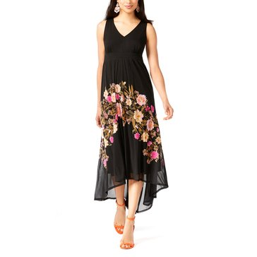 INC International Concepts Sleeveless V-Neck Floral Border Hi Lo DM Mesh in Deep Black