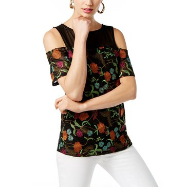 INC International Concepts Embroidered Cold Shoulder in Deep Black
