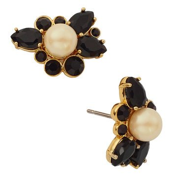 Kate Spade 'Flying Colors' Pearl And Jet Cluster Stud Earrings