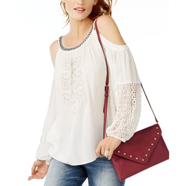 INC International Concepts Embroidered Cold Shoulder with Beading in White