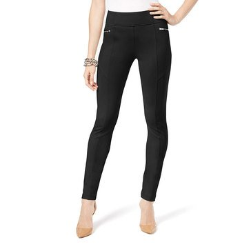 INC International Concepts Zip Front Wide Waistband Tech Ponte Pant in Deep Black