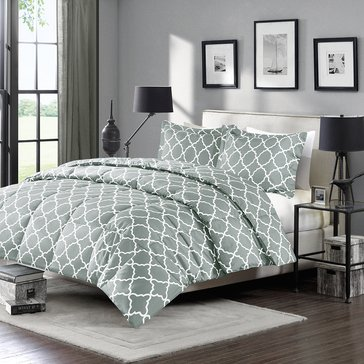 Harbor Home Down Alternative Reversible Mini Set, Grey Ogee Print - Twin