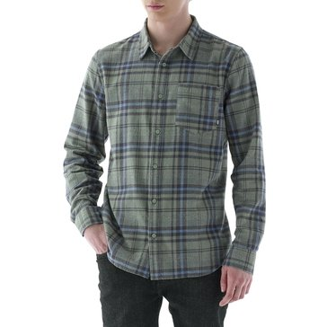 Vans Men's Long Sleeve Madder Plaid Sea Spray Green Flannel Shirt