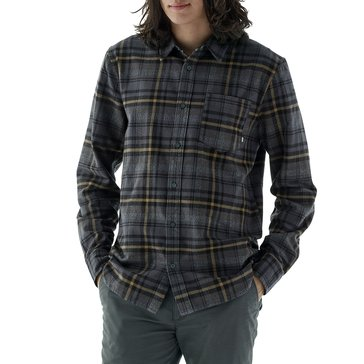 Vans Men's Long Sleeve Madder Plaid Asphalt Grey Flannel Shirt