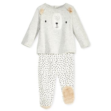 First Impressions Baby Girls' Bear Footie Set, Silver Heather