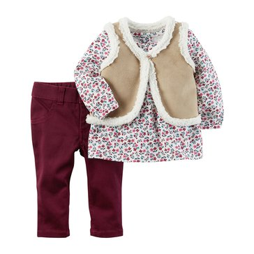 Carter's Baby Girls' 3-Piece Vest and Pants Set