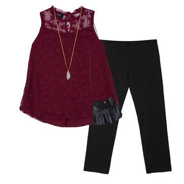 Byer Girls' 2-Piece Star Tunic Legging Set, Plum