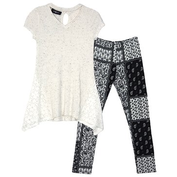 Byer Girls' 2-Piece Tunic Legging Set, Black/White
