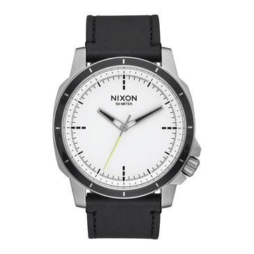 Nixon Men's The Ranger Ops White/Black Leather Watch, 45mm