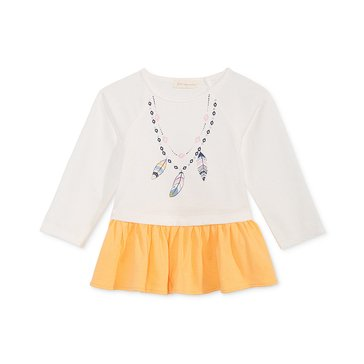 First Impressions Baby Girls Feather Necklace Tunic, Angel White