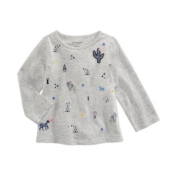 First Impressions Baby Girls' Western Tee, Heather Storm