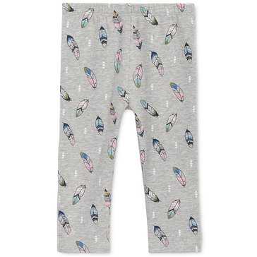 First Impressions Baby Girls' Feather Print Leggings, Heather Storm