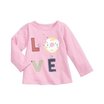First Impressions Baby Girls' Donut Love Tee, Thulian Pink