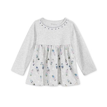 First Impressions Baby Girls' Feather Tunic, Heather Storm