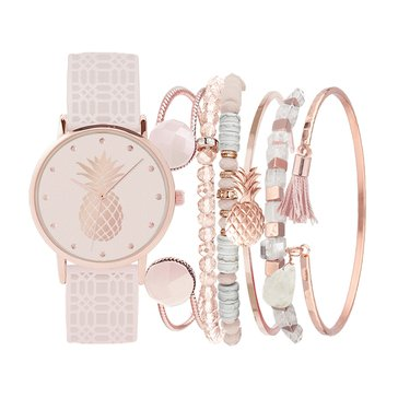 Jessica Carlyle Women's Boho Stackable Watch Set, Blush