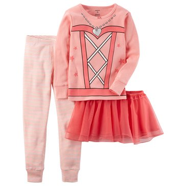 Carter's Baby Girls' 3-Piece Cotton Sleepwear Set, Ballerina With Tutu