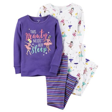 Carter's Baby Girls' 4-Piece Cotton Sleepwear Set, Beauty Needs Sleep