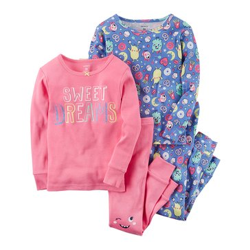 Carter's Baby Girls' 4-Piece Cotton Sleepwear Set, Sweet Dreams