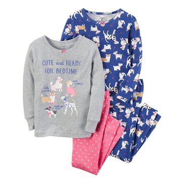 Carter's Baby Girls' 4-Piece Cotton Sleepwear Set, Bedtime Dogs