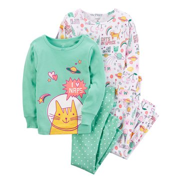 Carter's Baby Girls' 4-Piece Cotton Sleepwear Set, Astronaut Cat