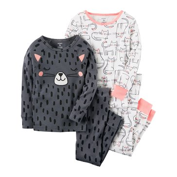 Carter's Baby Girls' 4-Piece Cotton Sleepwear Set, Cats