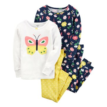 Carter's Baby Girls' 4-Piece Cotton Sleepwear Set, Butterfly