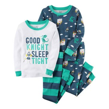 Carter's Baby Boys' 4-Piece Cotton Sleepwear Set, Good Knight