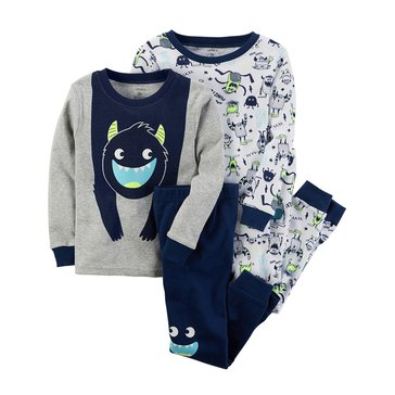 Carter's Baby Boys' 4-Piece Cotton Sleepwear Set, Monster
