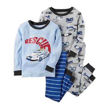 Carter's Baby Boys' 4-Piece Cotton Sleepwear Set, Bedtime Rescue