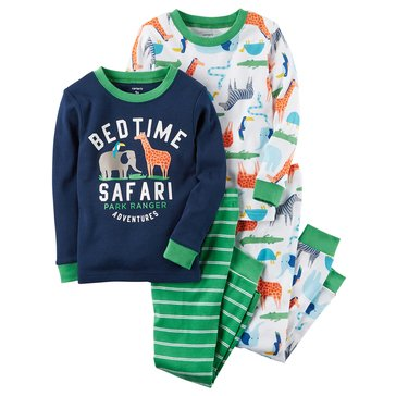 Carter's Baby Boys' 4-Piece Cotton Sleepwear Set, Bedtime Safari
