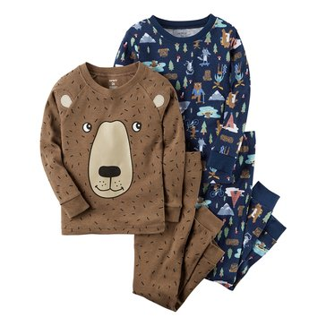 Carter's Baby Boys' 4-Piece Cotton Sleepwear Set, Camping