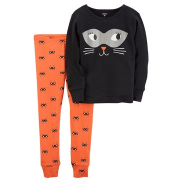 Carter's Baby Girls' 2-Piece Cotton Halloween Sleepwear Set, Cat Face