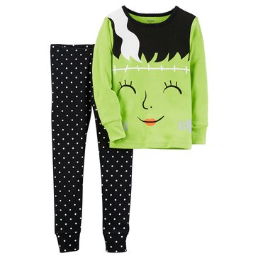 Carter's Baby Girls' 2-Piece Cotton Halloween Sleepwear Set, Lady Frankenstein