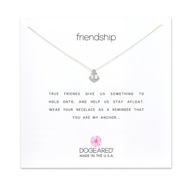 Dogeared Smooth Anchor Friendship Necklace, Sterling Silver