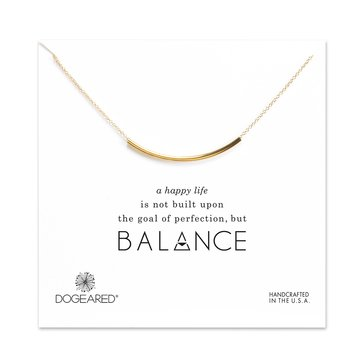Dogeared Balance Tube Necklace, Gold Dipped