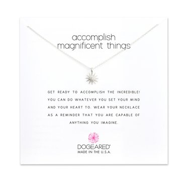 Dogeared Accomplish Magnificent Things Starburst Necklace, Sterling Silver