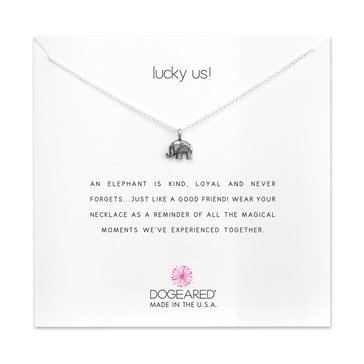 Dogeared Lucky Us Happy Elephant Necklace, Sterling Silver