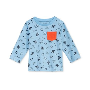 First Impressions Baby Boys' Western Print Pocket Tee, Blue Skies