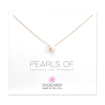 Dogeared Pearls Of Love Freshwater Pearl Necklace, Rose Gold Dipped
