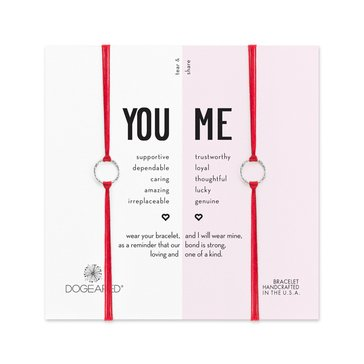 Dogeared You And Me Sparkle Ring Friendship Bracelet Set, Sterling Silver on Red Silk