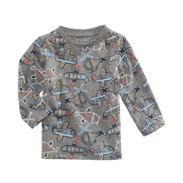 First Impressions Baby Boys' Airplane Tee, Pewter Heather