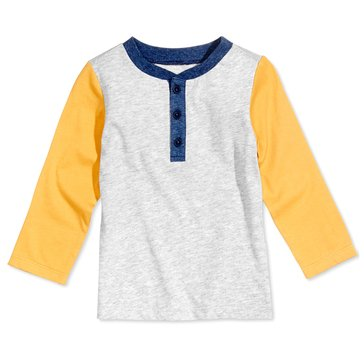 First Impressions Baby Boys' Colorblock Henley Tee, Chrome Heather