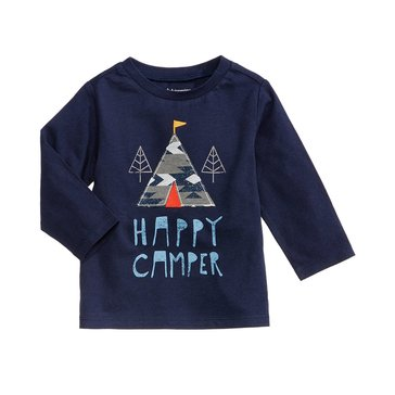 First Impressions Baby Boys' Happy Camper Tee, Navy Nautical