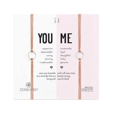 Dogeared You And Me Sparkle Ring Friendship Bracelet Set, Sterling Silver on Taupe Silk
