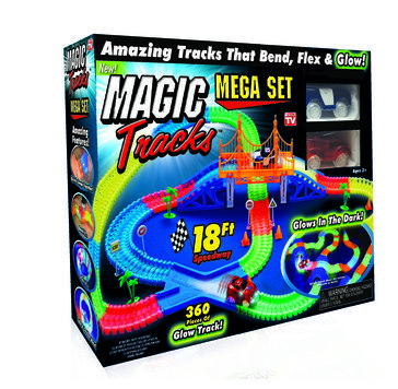 As Seen On TV Magic Tracks Mega Set Glow-In-The-Dark Race Track with 2 Cars