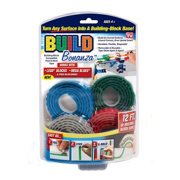 As Seen On TV Build Bonanza Toy-Block Compatible Peel & Stick Tape - Red, Blue, Grey, Green
